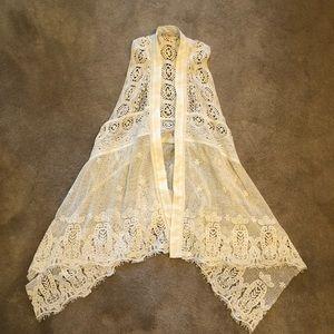 M/L White lace Anthropologie Vest